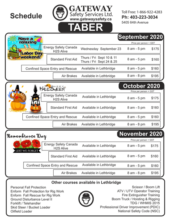 Taber schedule - Sept to Nov 2020
