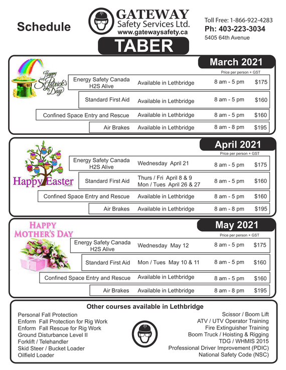 Taber schedule - March to May 2021
